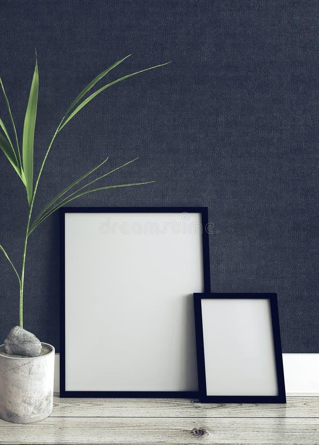 Bilderrahmen und Topfpflanze innerhalb des modernen Hauses lizenzfreie abbildung