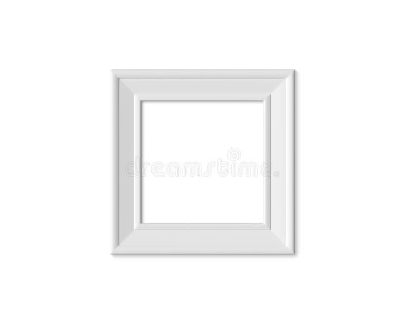 Bilderrahmenmodell des Quadrats 1x1 Realisitc-Papier-, hölzerner oder weißer Plastikfreier Raum für Fotografien Lokalisierter Pla stock abbildung