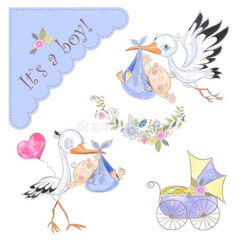 Bilderset für die Geburt eines Jungen. Storch mit Sch?tzchen. neugeborene Karte f?r Jungen. Vektor stock abbildung