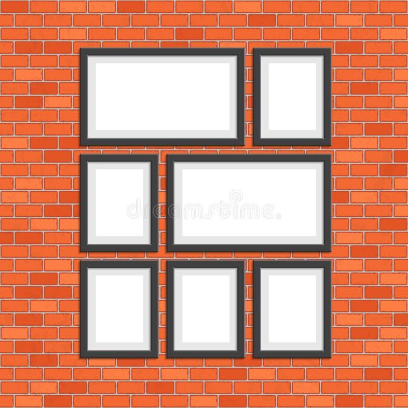 Bildfotoramar på väggen för röda tegelstenar vektor illustrationer