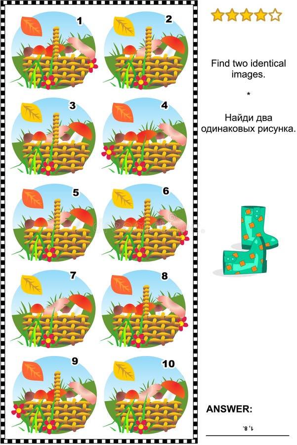 Bildgåta med korgar av champinjoner stock illustrationer
