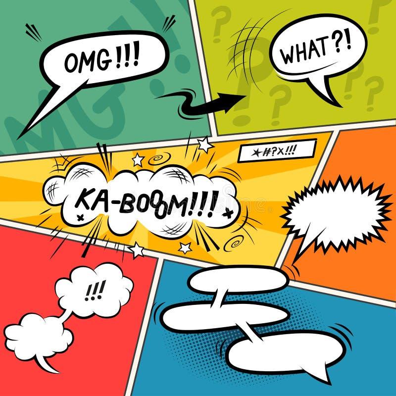 Bildgeschichte-Sprache-Blasen lizenzfreie abbildung