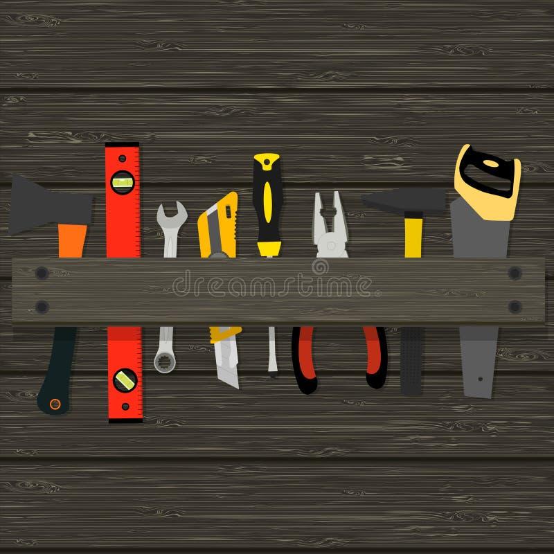 Bildhammer, Zangen, Äxte und andere Werkzeuge für den Bau und die Reparatur einer hölzernen Beschaffenheit lizenzfreie abbildung