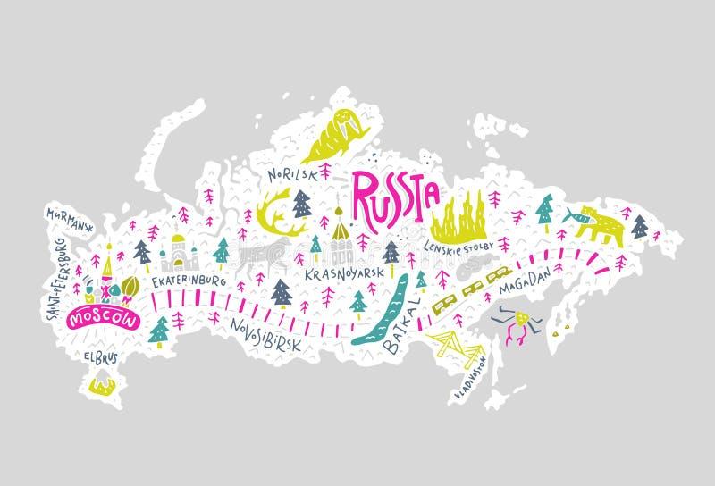 Bildkarte von Russland vektor abbildung