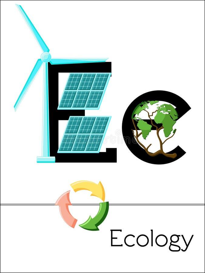 Bildkortbokstav E är för ekologi stock illustrationer