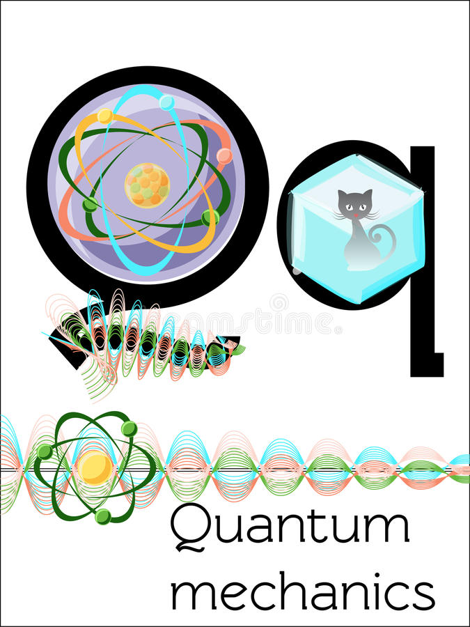 Bildkortbokstav Q är för kvantmekaniker vektor illustrationer