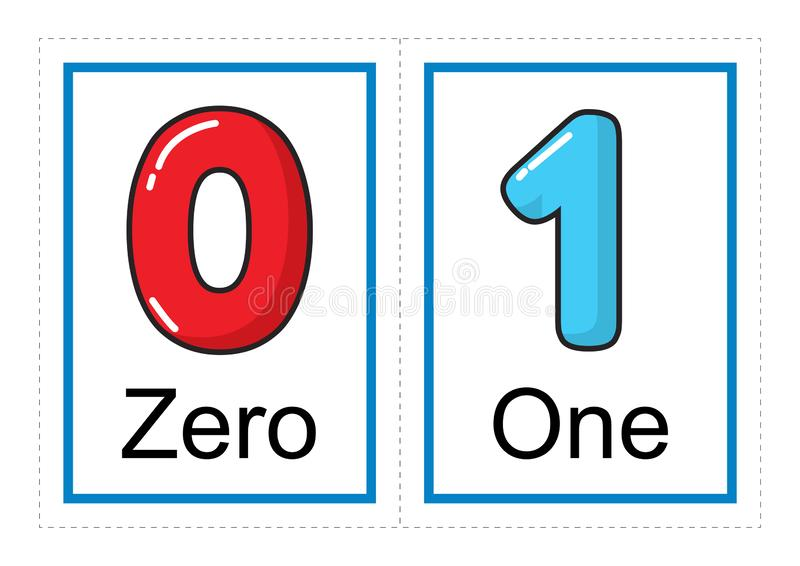 Bildkortsamling för nummer och deras namn för förtränings-/dagisungar | låt oss lära nummer vektor illustrationer