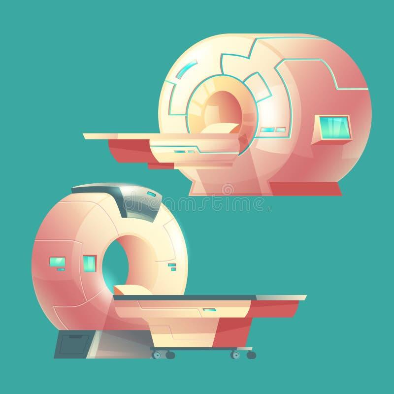 Bildläsare för vektortecknad film MRI, kopiering för magnetisk resonans royaltyfri illustrationer