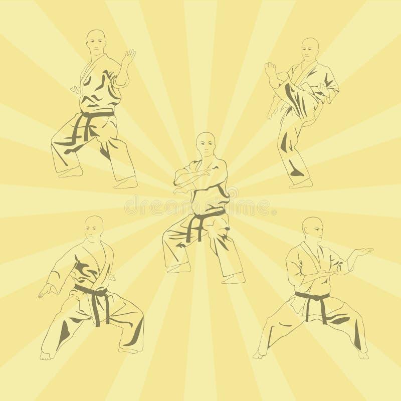 Bildmännen som är förlovade i karate vektor illustrationer