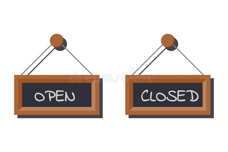 Bildmenge verschiedene offene und geschlossene Geschäftszeichen auf dem Schieferbrett geschrieben in Kreide stock abbildung