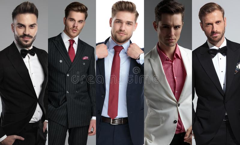 Bildmontage av fem attraktiva unga män som bär dräkter royaltyfri bild