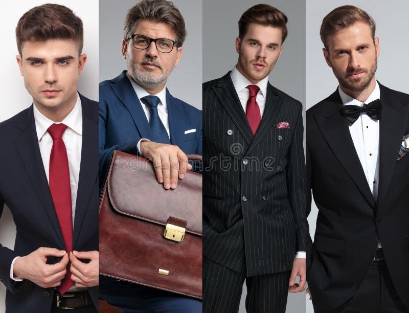 Bildmontage av posera för fyra ungt modemän royaltyfria bilder