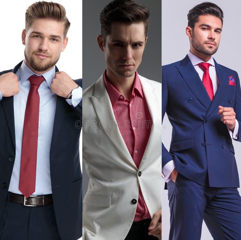 Bildmontage der jungen Aufstellung der gut aussehenden Männer lizenzfreies stockbild