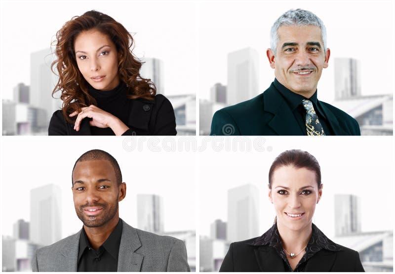 Bildmosaik von vier Wirtschaftlern lizenzfreies stockbild