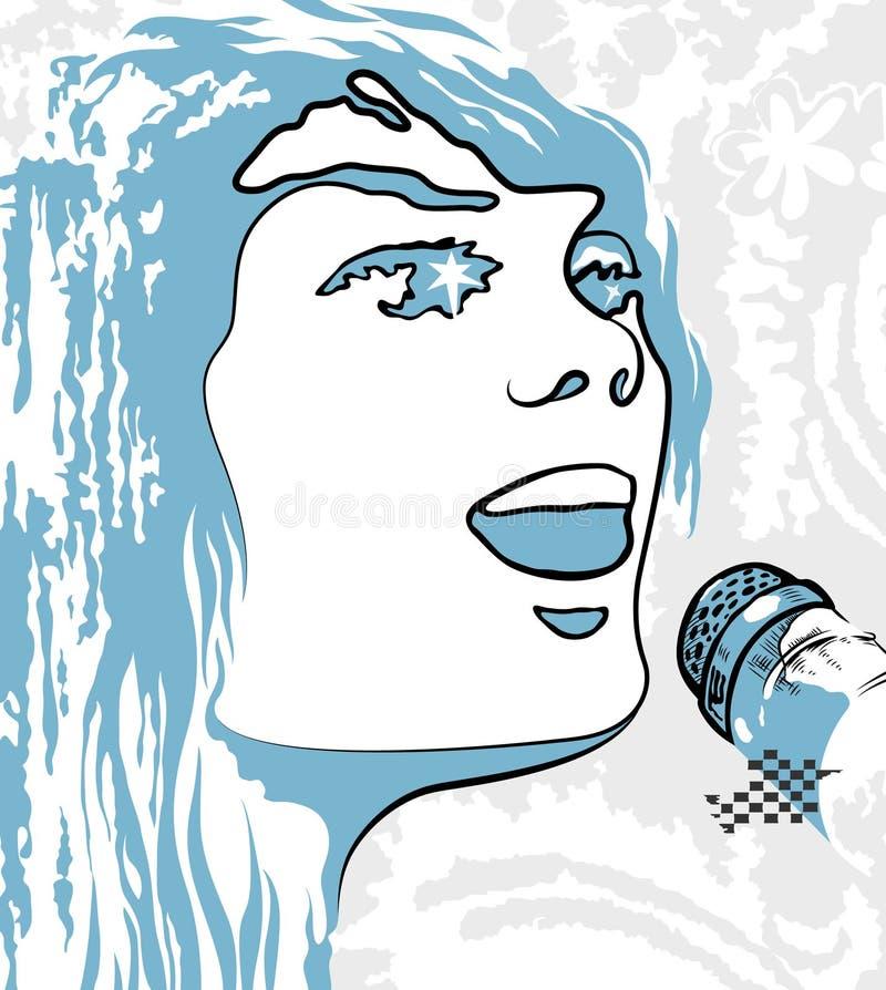 Bildperson, die ein Mikrofon singt stock abbildung