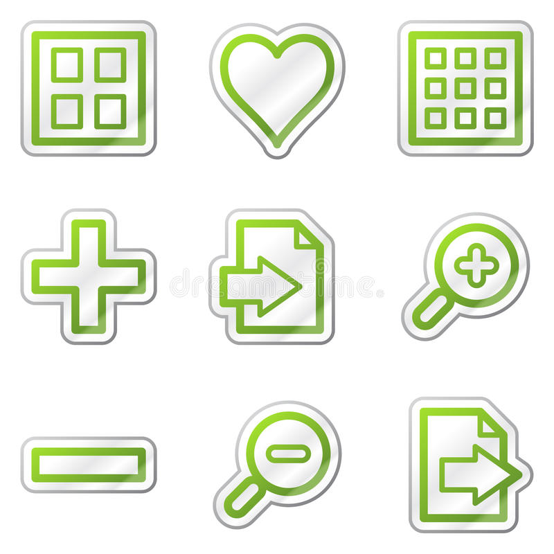 Bildprojektorweb-Ikonen, grüner Formaufkleber vektor abbildung