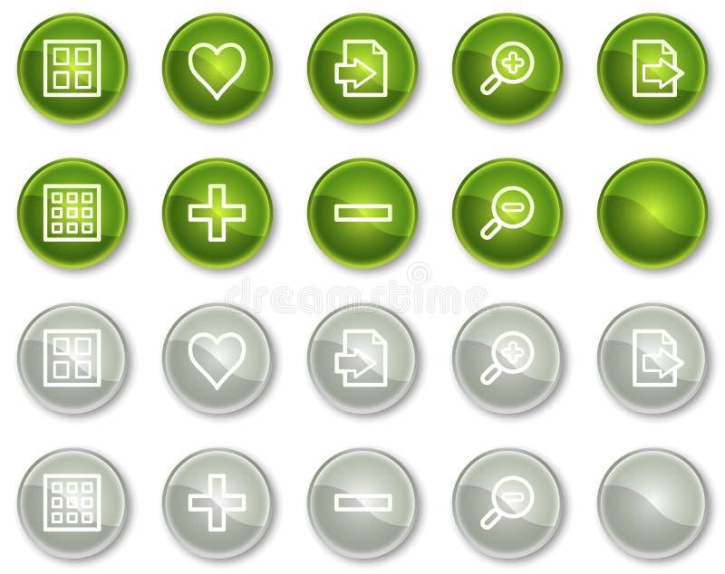 Bildprojektorweb-Ikonen stellten 1, grüne Kreistasten ein stock abbildung