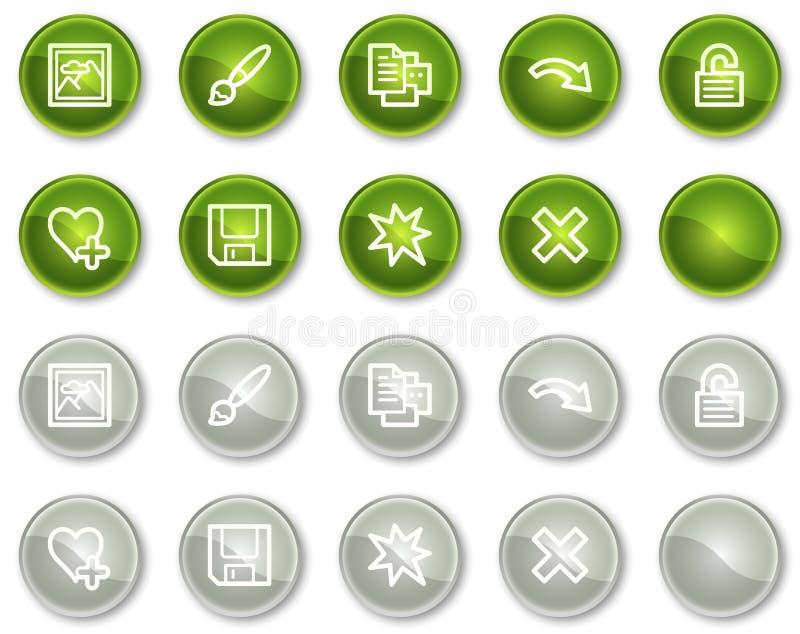 Bildprojektorweb-Ikonen stellten 2, grüne Kreistasten ein lizenzfreie abbildung