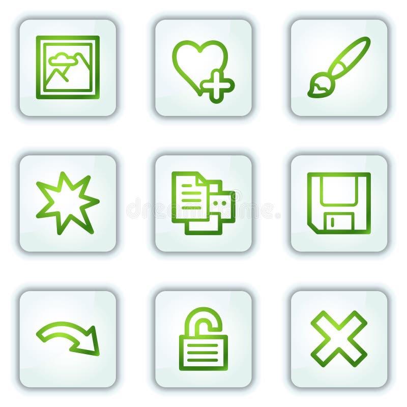 Bildprojektorweb-Ikonen stellten 2, Tasten des weißen Quadrats ein stock abbildung