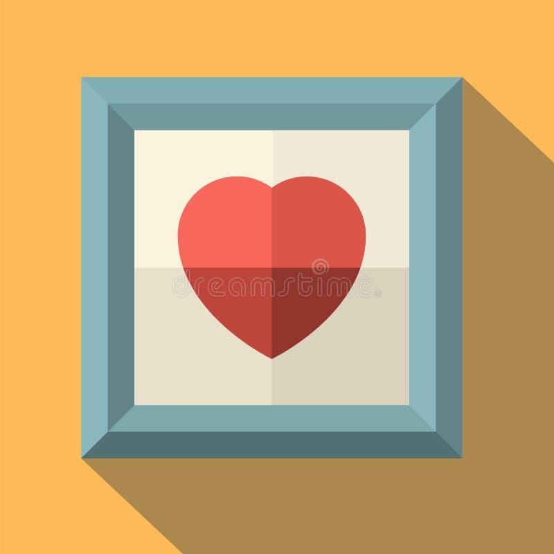 Bildram med röd hjärta vektor illustrationer