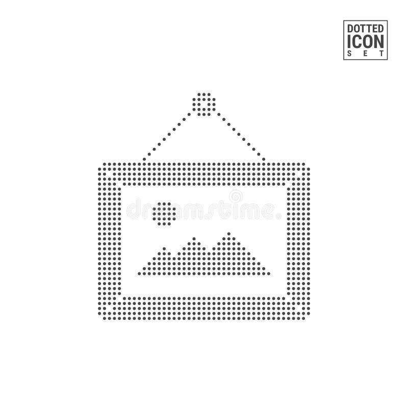 Bildram som hänger på en spika Dot Pattern Icon Prucken symbol för standard som Avatar isoleras på vit Det kan vara nödvändigt fö stock illustrationer
