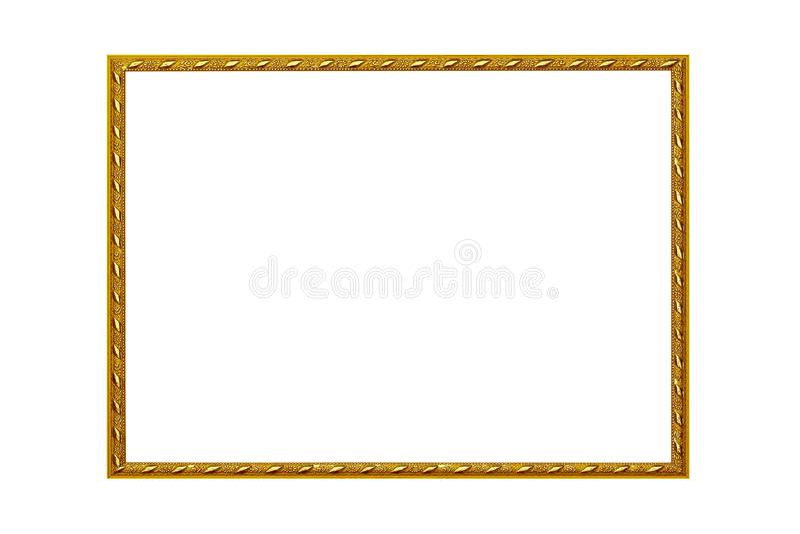 Bildram som isoleras på vit bakgrund, tom antik guld- ram för att måla eller foto royaltyfri foto