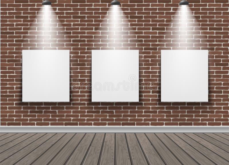 Bildramar på tegelstenväggen vektor illustrationer
