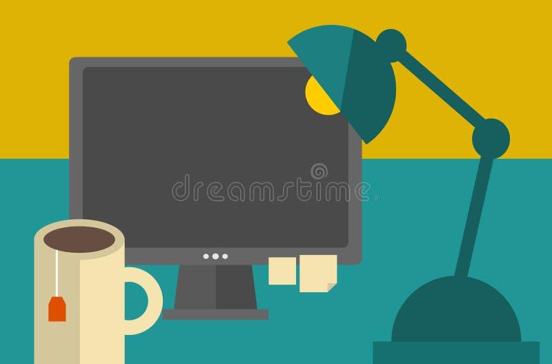 Bildschirm auf dem Tisch. lizenzfreie abbildung