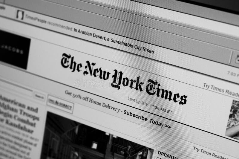 Bildschirm der New- York Timeshauptseite lizenzfreie stockfotos
