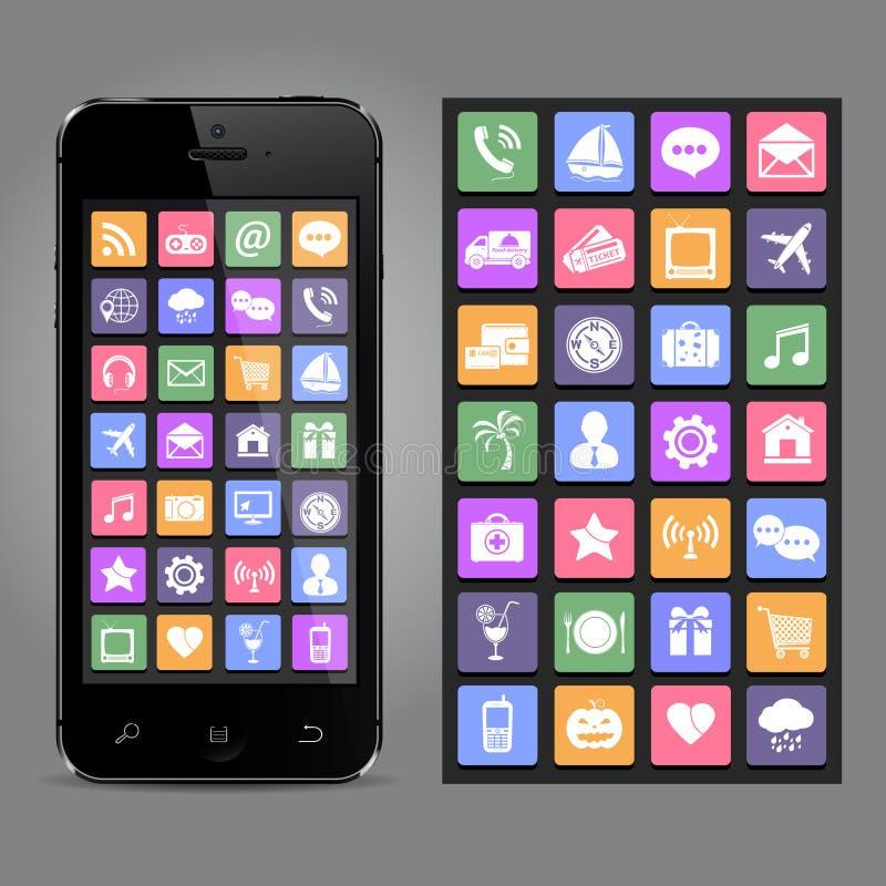 Bildschirm- smartphone mit Anwendungsikonen stock abbildung