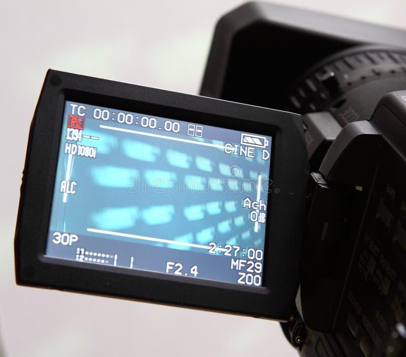 Bildschirmanzeige eines vollen HD Kamerarecorders stockbild