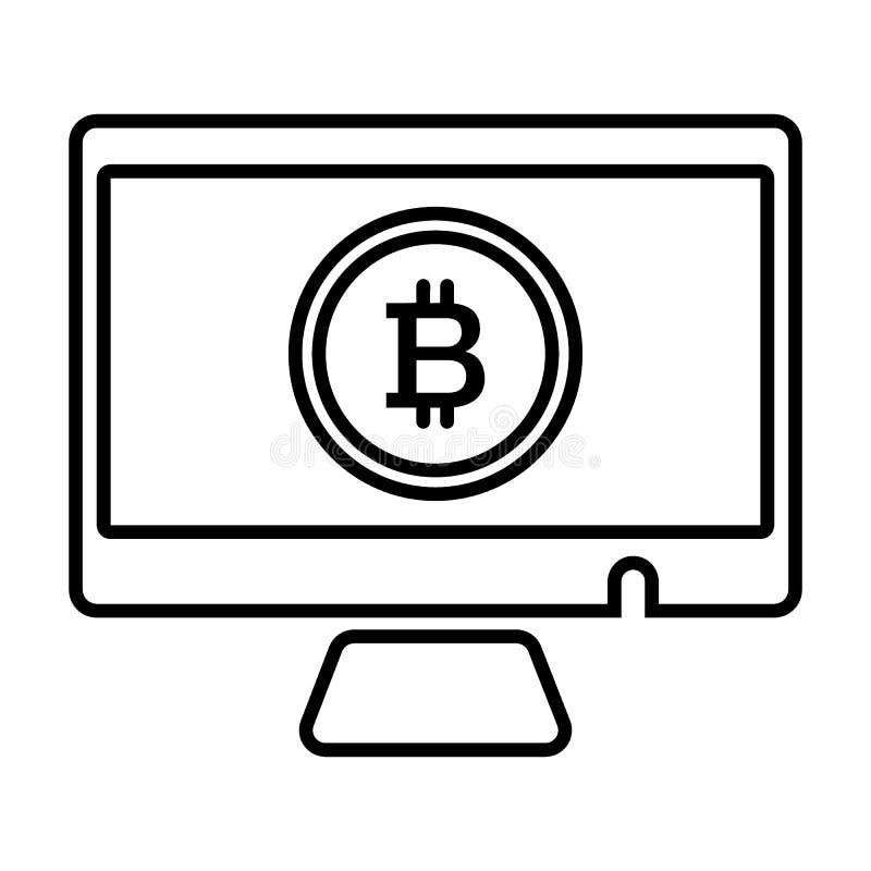 Bildskärm bitcoinlinje symbol Vektorillustration som isoleras på vit översiktsstildesign som planläggs för rengöringsduk och app  vektor illustrationer