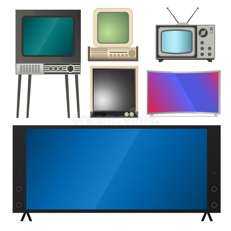 Bildskärm för lcd för TVvektorskärm och anteckningsbok, minnestavladator, retro mallar TV för elektroniska apparater avskärmar in royaltyfri illustrationer