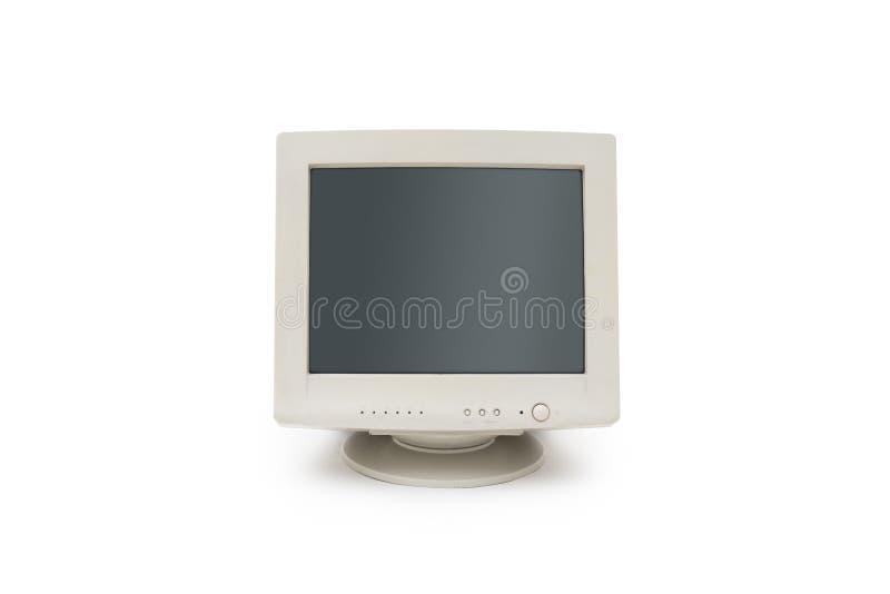 Bildskärm för tappningCRT-dator på vit bakgrund arkivfoton