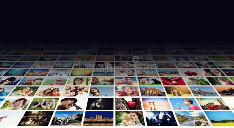 Bildskärm på breda moderna bildskärmar, skärmar arkivbilder