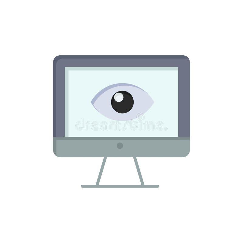 Bildskärm som är online-, avskildhet, bevakning, video, plan färgsymbol för klocka Mall för vektorsymbolsbaner royaltyfri illustrationer