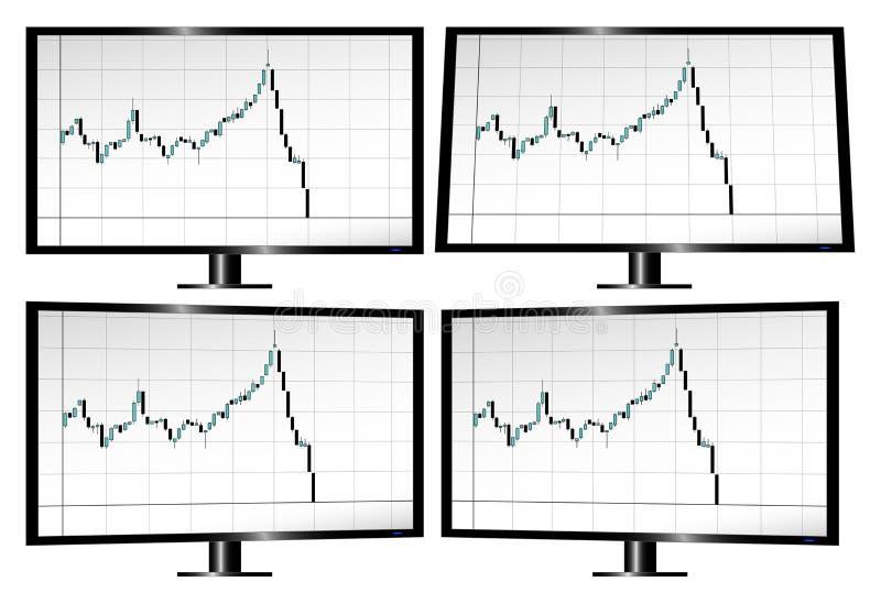 Bildskärmar som visar aktiemarknadkrasch med ljusstakar royaltyfri illustrationer