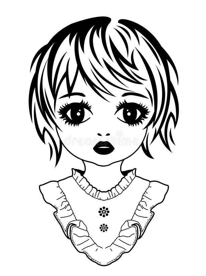 Bildst?ende av en flicka royaltyfri illustrationer