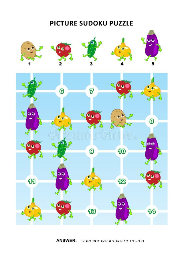 Bildsudokupussel med grönsaker royaltyfri illustrationer