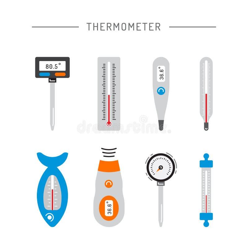Bildtermometersymboler stock illustrationer