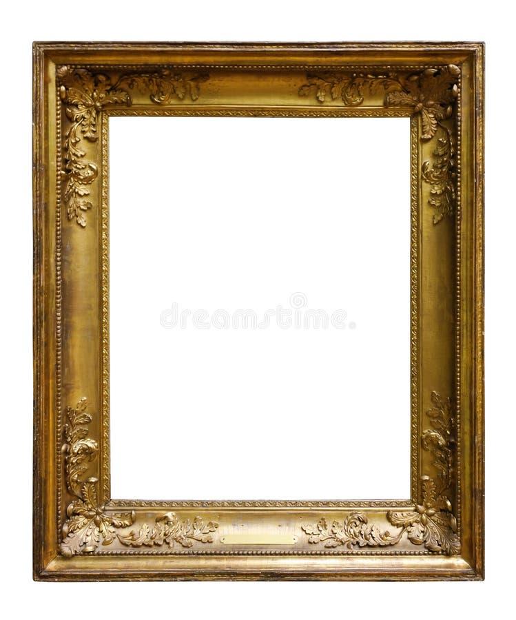 Bildtr?utsmyckad ram f?r design p? vit isolerad bakgrund arkivfoto