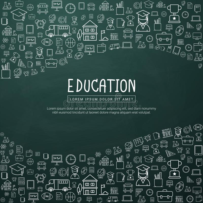 Bildung infographic mit Hand gezeichneten Gekritzelschulikonen lizenzfreie abbildung