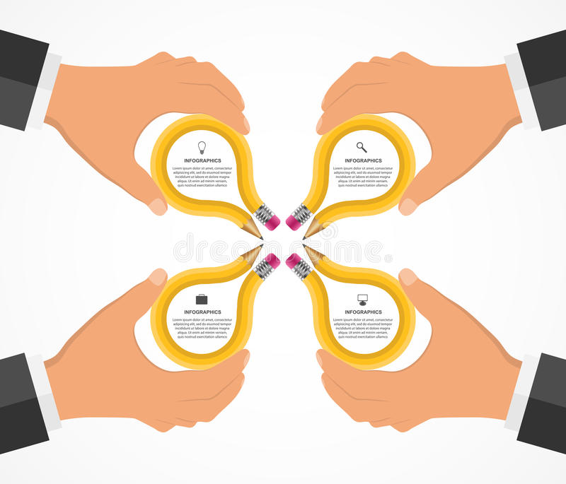 Bildung infographics Designschablone mit den menschlichen Händen, welche die Bleistifte halten stock abbildung