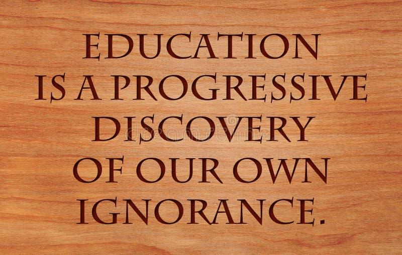 Bildung ist eine progressive Entdeckung lizenzfreie stockbilder