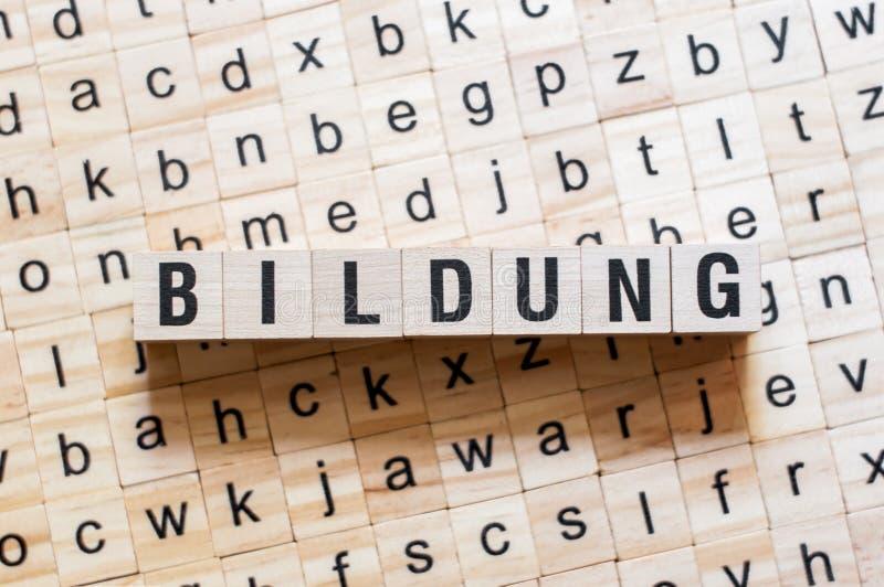 Bildung - istruzione di parola su lingua tedesca, concetto di parola immagini stock libere da diritti