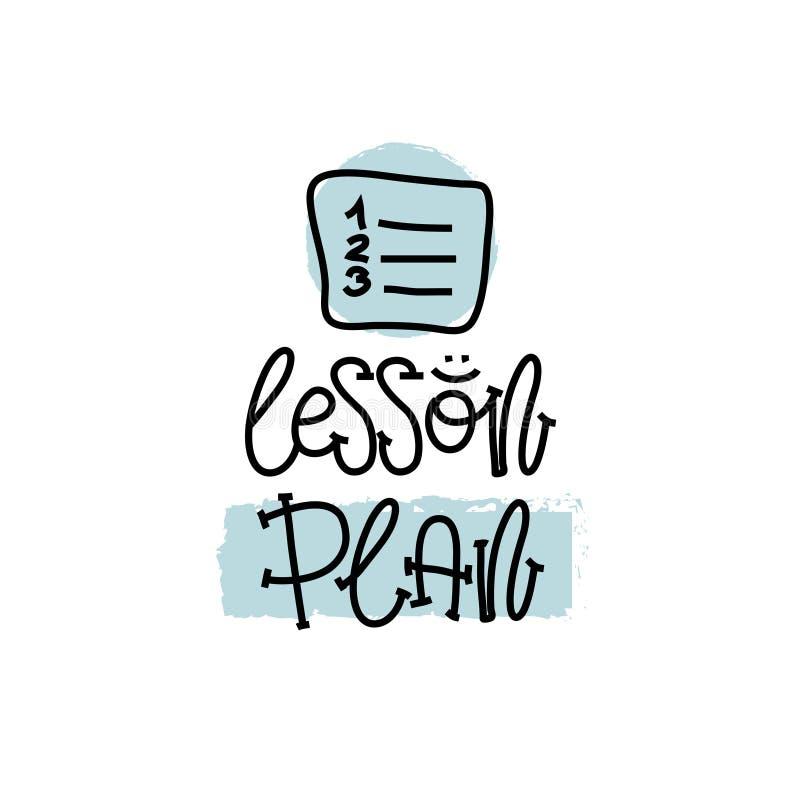 Bildung und Bewertungs-Konzept Handschriftlogo-Lektionsplan auf Weißbuch Ansicht von oben Vektor lizenzfreie abbildung
