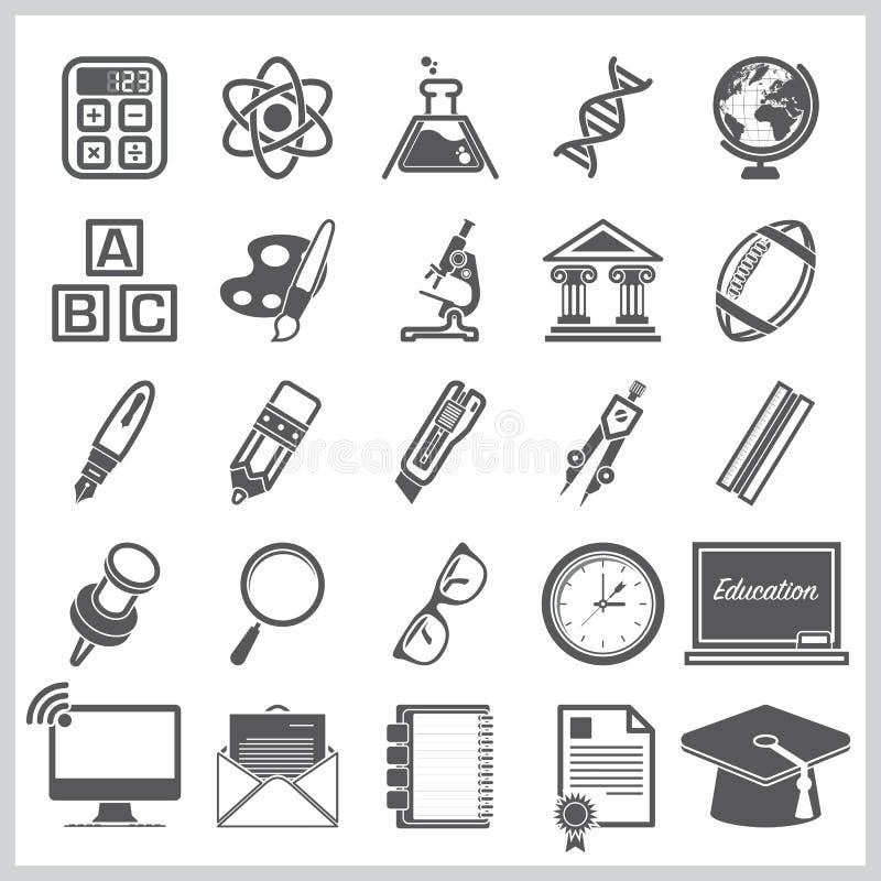 Bildung Und Lernen Des Zeichen-Symbol-Ikonen-Satzes Vektor Abbildung ...