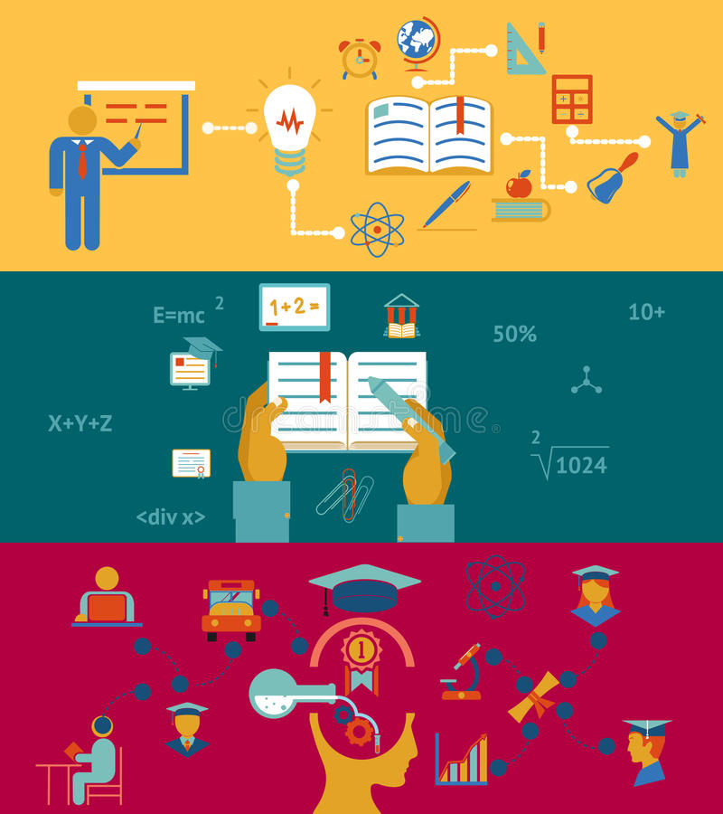 Bildung und Lernen- Fahnen stock abbildung