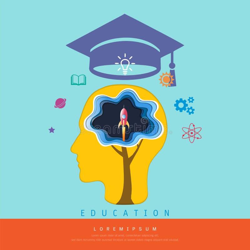 Bildung und Lernkonzept, der Kopf mit Gehirn ein Produkteinführungsweltraumraketefliegen, über seinem Kopf denkend ist eine Staff lizenzfreie abbildung