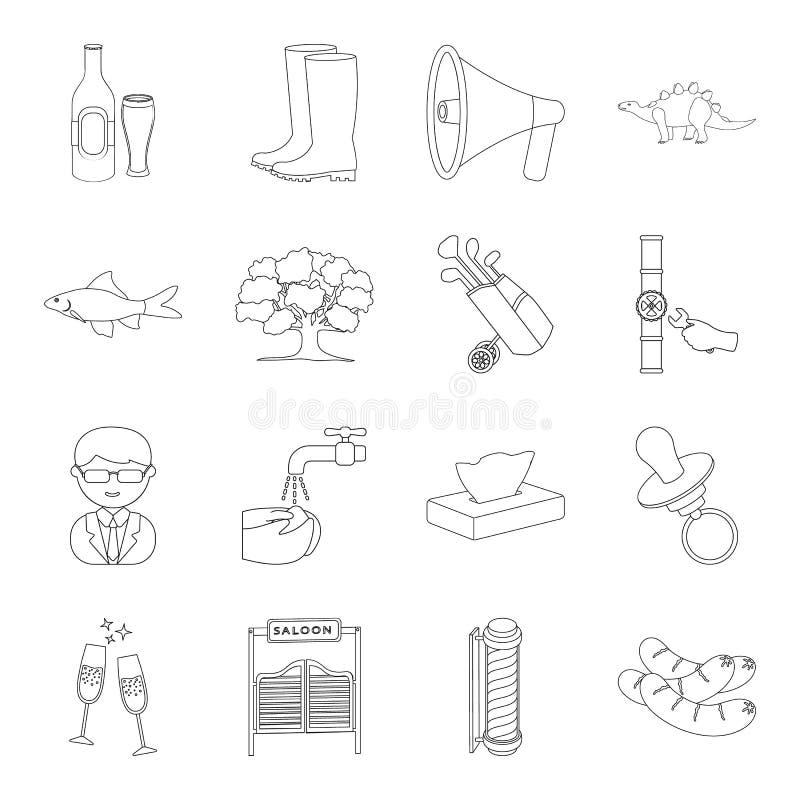 Bildung, Wartung, Klempnerarbeit und andere Netzikone in der Entwurfsart Grill, Geschichte, Medizinikonen in der Satzsammlung stock abbildung